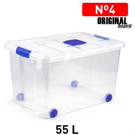 Caja de almacenamiento N4 con ruedas 55 Litros Transparente