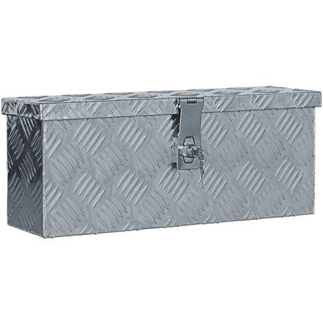 Caja de aluminio 48,5x14x20 cm plateada