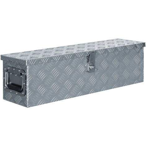Caja de aluminio 80,5x22x22 cm plateada