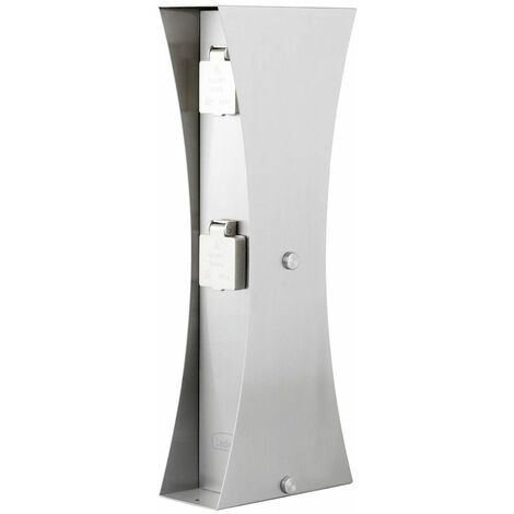 Caja de enchufes exterior jardín distribuidor de energía 4 veces columna de energía de acero inoxidable plata Ledino 11790000010015