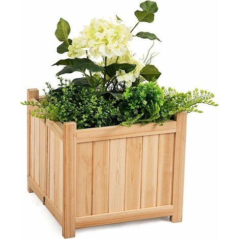 Caja de Flores Maceta Plegable para Plantas de Madera 38x38x35 centímetros Cama Elevada para Jardín Patio Terraza