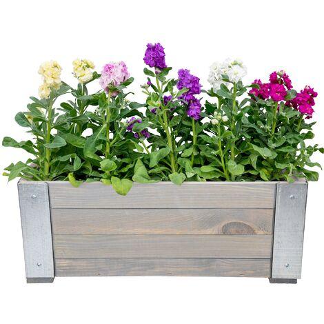 Caja de flores maceteros de madera pino y metal soporte de plantas WOMO-DESIGN®