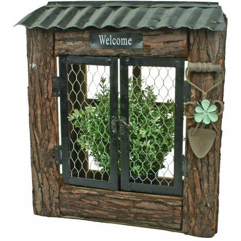 Caja de flores para jardín Señal de bienvenida Puerta de rejilla Jardinera de jardín Madera