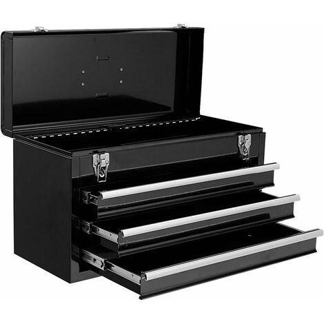 Caja de Herramientas Almacenamiento Metálica Portátil 3 Cajones + Bandeja 52x21,8x30cm Negro