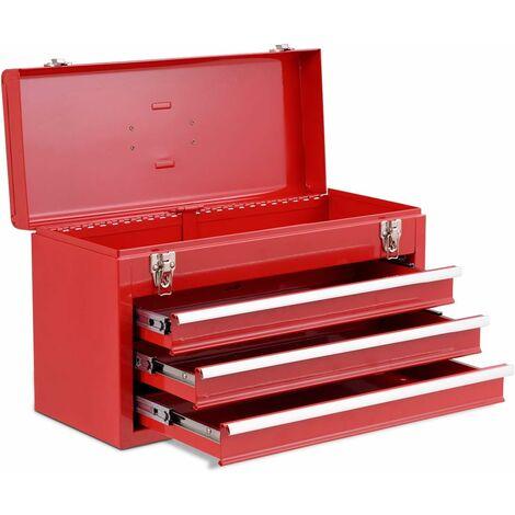 resistente rojo 56,5 x 31 x 37 cm port/átil bandeja de almacenamiento con cerradura Caja de herramientas con 3 cajones