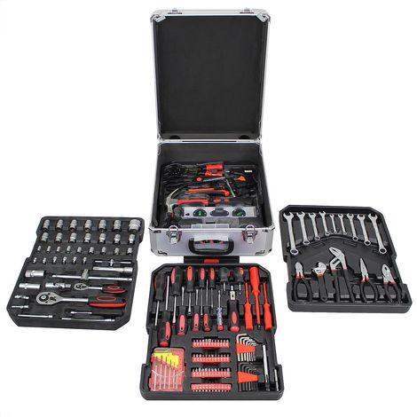 Caja de Herramientas, Kit de Herramientas Completo, con caja de aluminio y mango telescópico, 251 herramientas, Material: Acero carbono