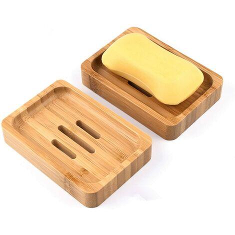Caja de jabón para plato de jabón de madera de bambú natural de 2 piezas para baño, ducha, plato de jabón, manualidades para jabón, esponjas y más