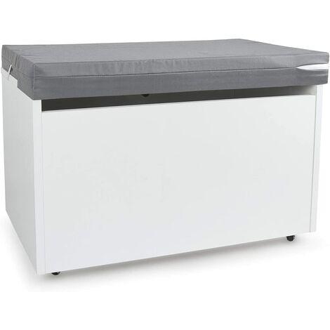 Caja de madera blanca móvil XXL+ Cojín banco