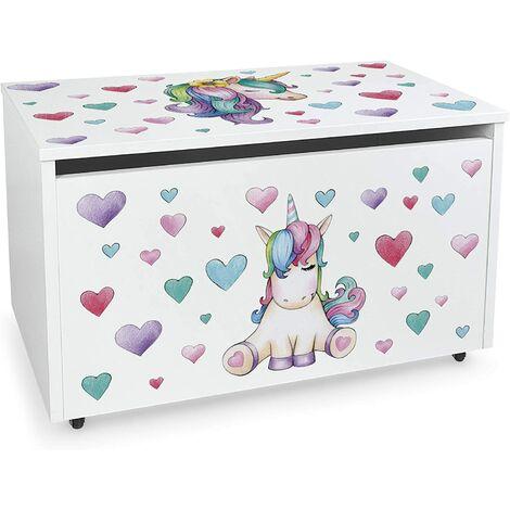 Caja de madera blanca móvil XXL, Motivo: Unicornio