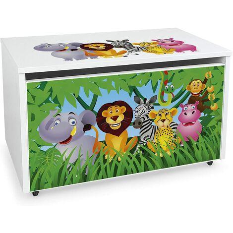 Caja de madera blanca móvil XXL, Motivo: Zoo
