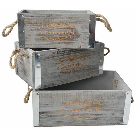 Caja de Madera Decorativa Vintage set de 3, Caja Almacenamiento Decoración.