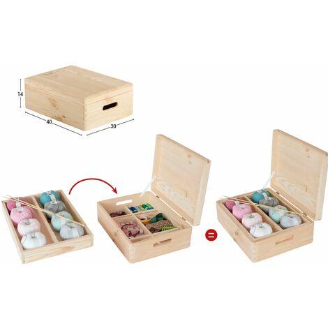 Caja de madera maciza de pino con compartimentos 14x40x30cm