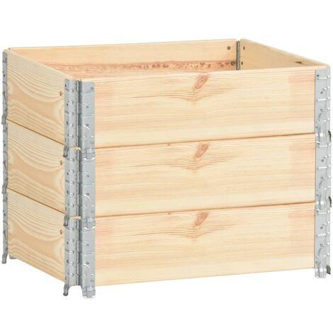 Caja de palés 3 unidades madera maciza de pino 60x80 cm