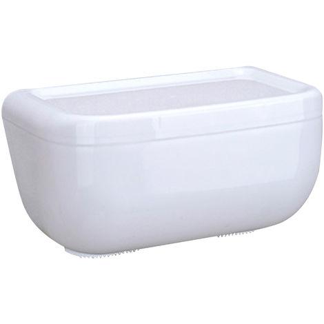 Caja de panuelos ovalada de pared con estantes, blanca,L