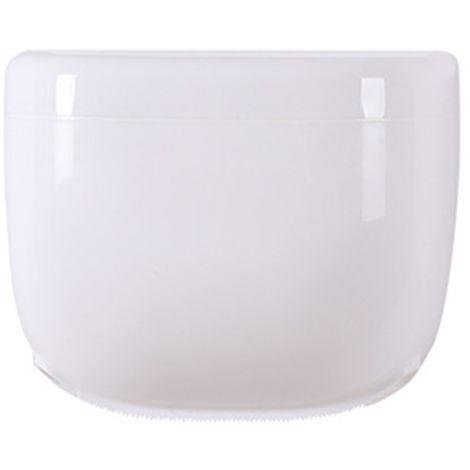 Caja de panuelos ovalada de pared con estantes, blanca,S