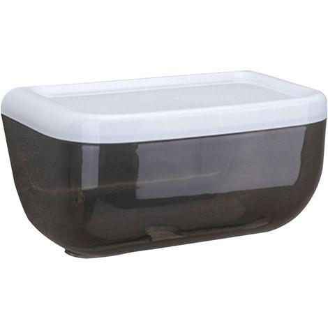 Caja de panuelos ovalada de pared con estantes, negra,L