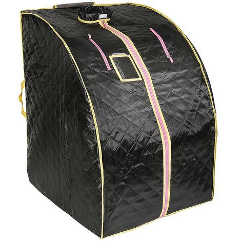 Caja de sauna Baño de vapor móvil Spa plegable Vaporizador doméstico Temperatura de control remoto Negro 220V Enchufe de la UE
