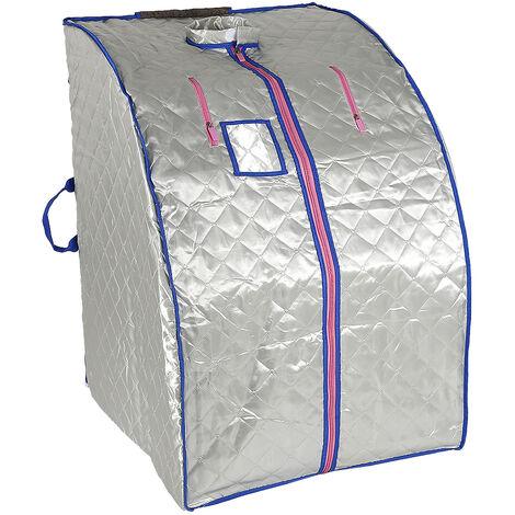 Caja de sauna Baño de vapor móvil Spa plegable Vaporizador doméstico Temperatura de control remoto Plata 220V Enchufe de la UE