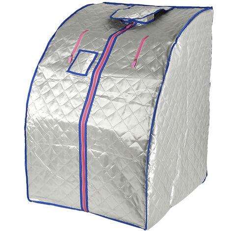Caja de sauna portátil plegable con taburete con 4 fogones - Plata