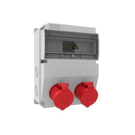 Caja de tomas de corriente 12 módulos IP44 con 2 bases 32A 3P+N+T
