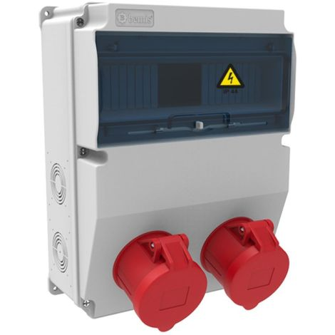 Caja de tomas de corriente 12 módulos IP44 con 2 bases 32A 3P+T