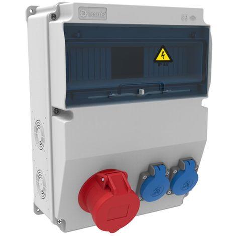 Caja de tomas de corriente 12 módulos IP44 con bases 2 de 16A 2P+T y 1 de 16A 3P+N+T