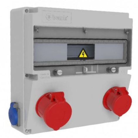Caja de tomas de corriente 17 módulos IP44 bases 2 de 16A 2P T 1 de 16A 3P N T y 1 de 32A 3P N T