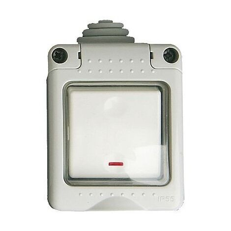 Caja estanca 2 modulos con pulsador led IP 55