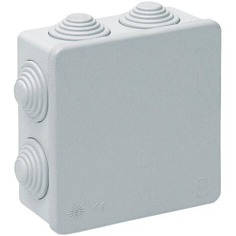 Caja estanca cuadrada con conos 100x100x45mm. Tapa a presión (Solera 615)