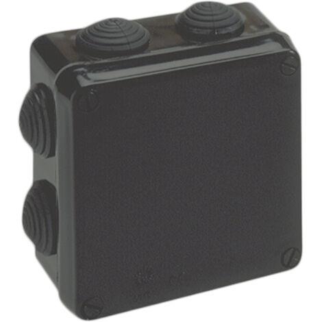 Caja estanca cuadrada con conos negra 100x100x55mm. Tornillos 1/4 vuelta (Solera 715)