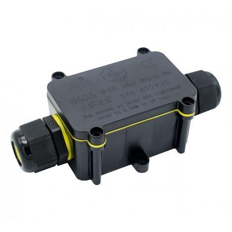 Caja Estanca IP68 con 2 Conectores 0.5 mm² – 2.5 mm² Negro | IluminaShop
