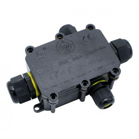 Caja Estanca IP68 con 4 Conectores 0.5 mm² – 2.5 mm² Negro | IluminaShop