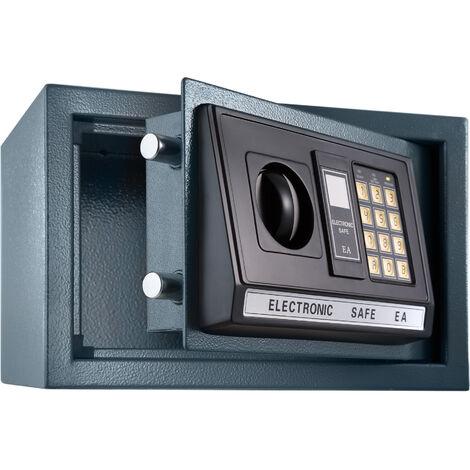 Caja fuerte electrónica + llave de seguridad modelo 1 - caja de seguridad de hierro, caja fuerte con código de seguridad y pilas, caja con llave y sistema de bloqueo doble - negro