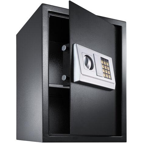 Caja fuerte electrónica + llave de seguridad modelo 2 - caja de seguridad de hierro, caja fuerte con código de seguridad y pilas, caja con llave y sistema de bloqueo doble - negro