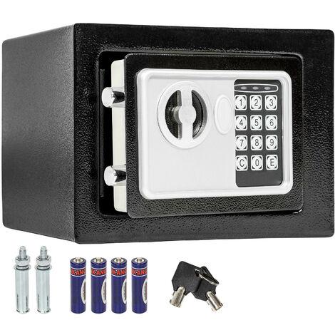 Caja fuerte electrónica + llave de seguridad modelo 4 grande - caja de seguridad de hierro, caja fuerte con código de seguridad y pilas, caja con llave y sistema de bloqueo doble - negro