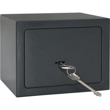 Caja fuerte mecánica de acero gris oscuro 23x17x17 cm