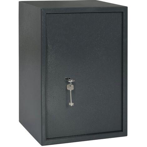 Caja fuerte mecánica de acero gris oscuro 35x31x50 cm