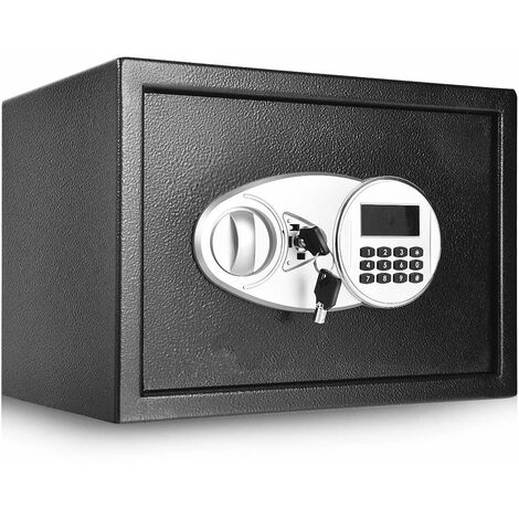 Caja Fuerte Negra Caja de Seguridad con 2 Llaves,Cerradura de Doble Cerrojo y Teclado Numérico para Casa y Oficina