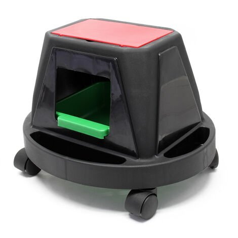 Caja herramientas con asiento 150kg Asiento ruedas portátil Asiento móvil Compartimento almacenaje