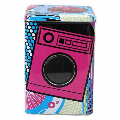 Caja metálica multi usos, lavadora rosa puerta transparente.