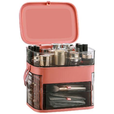 Caja organizadora de maquillaje a prueba de agua y polvo Almacenamiento de cosmeticos Caja de almacenamiento de maquillaje con cubierta antipolvo Asa portatil Estante de escritorio de gran capacidad, rojo