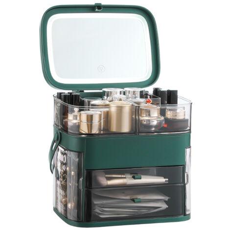 Caja organizadora de maquillaje con espejo LED, a prueba de agua, polvo, almacenamiento de cosmeticos, caja de almacenamiento de maquillaje con cubierta antipolvo, asa portatil, estante de escritorio de gran capacidad, verde