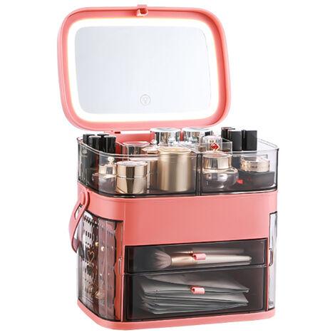 Caja organizadora de maquillaje con espejo LED a prueba de agua y polvo Almacenamiento de cosmeticos Caja de almacenamiento de maquillaje con cubierta antipolvo Asa portatil Estante de escritorio de gran capacidad, rojo