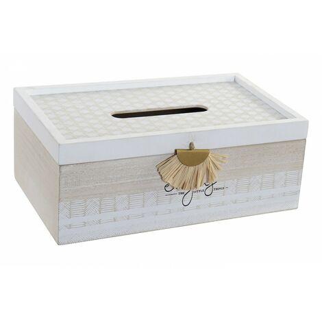 Caja Pañuelos Madera Blanca, con Frase Motivado Enjoy the little things. Incluye Fleco decorativo. Ambiente Étnico. 25X15X10cm