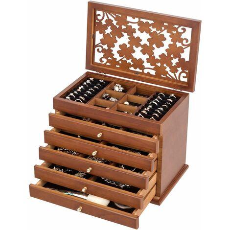 Caja para Joyas con 5 Cajones para Pendientes Collares Pulseras Joyero Organizador de Madera