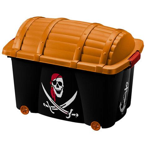 Caja para juguetes con ruedas capacidad de 50L con tapa motivo tesoro pirata hada madrina baúl de almacenamiento Pirata
