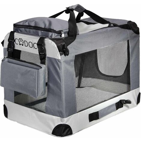 Cadoca Transportín de mascotas perros gatos bolsa de transporte plegable en S M L XL XXL color Gris con bolsillos exteriores manta para coche S - 50x35x35cm