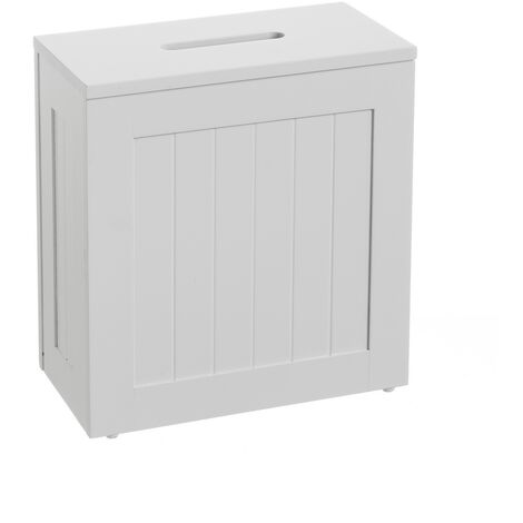 Caja portarrollos pequeña blanca de madera de 33x17x31 cm
