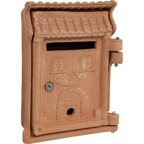 Caja postal Buzón de pared con cerradura empotrado para exteriores grande clásico Terracota 100% Made in Italy