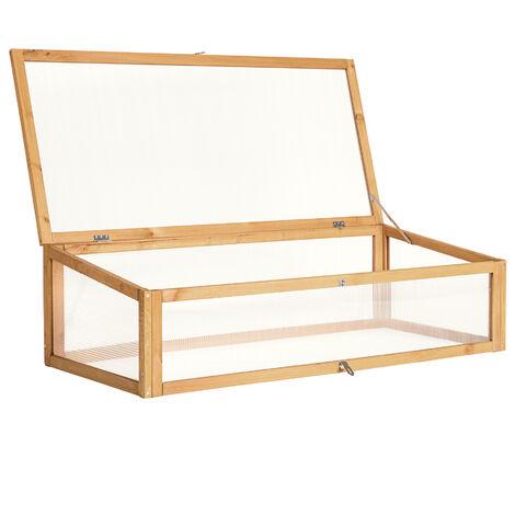 Cajón vivero para jardinera alzada - mueble para jardín en casa, accesorio para jardinera de madera impermeable, cajón para huerto urbano en exterior - marrón